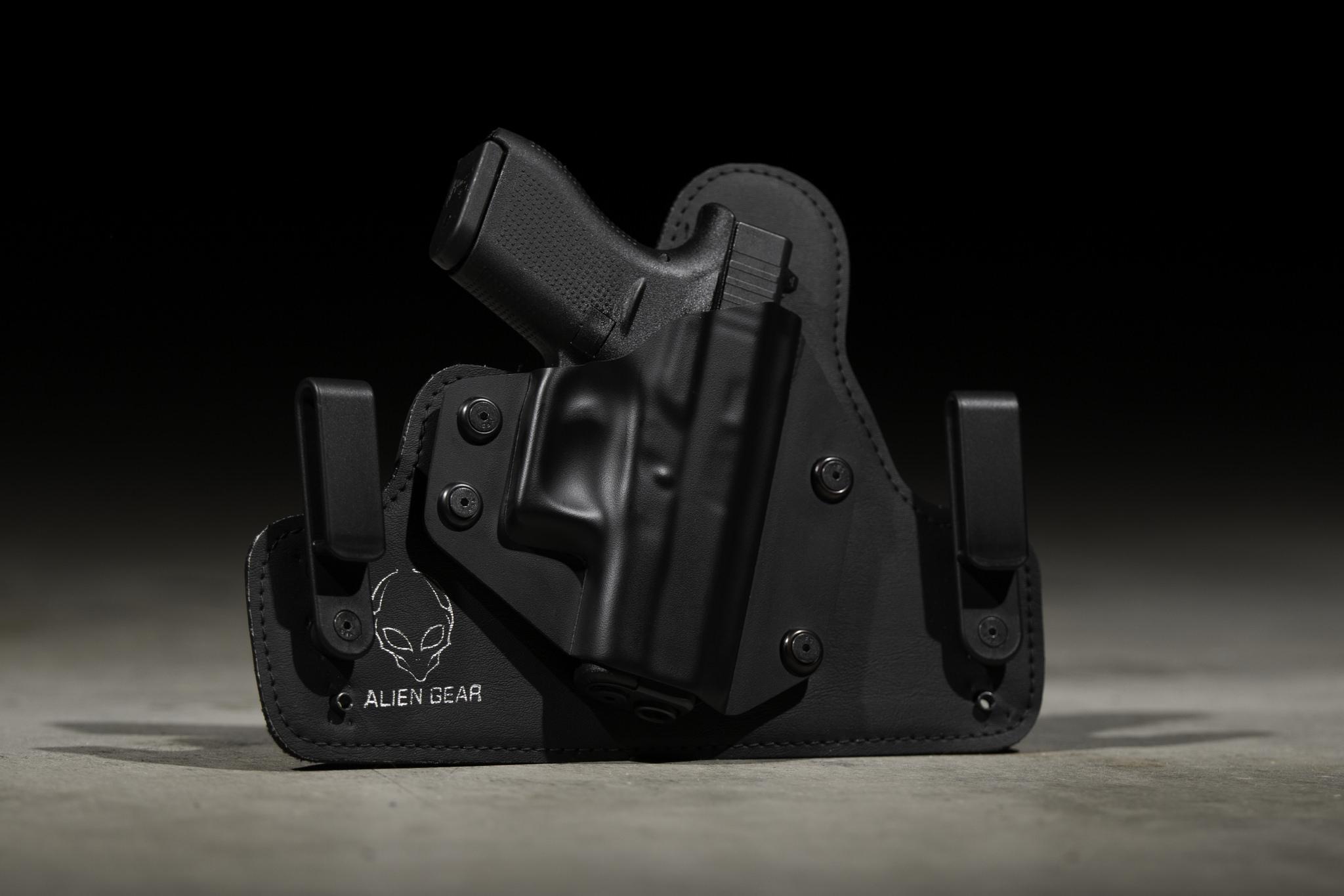 a handgun by Glock® inside a concealment holster