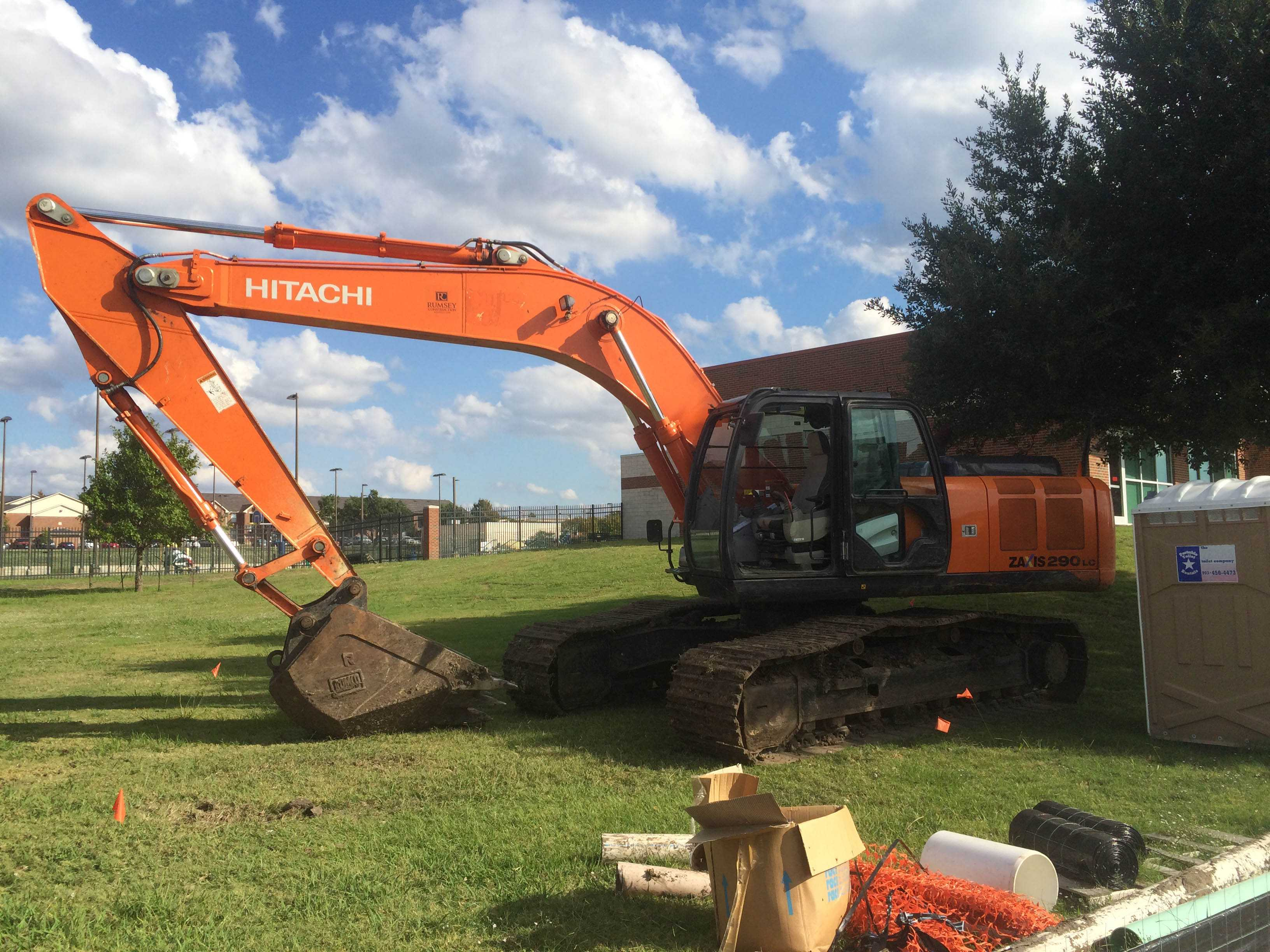 The excavator being operated when the water mane was broken