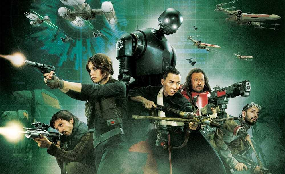 From left to right: Cassian Andor  (Diego Luna), Jyn Erso (Felicity Jones), K-2SO (voiced by Alan Tudyk), Chirrut Îmwe (Donnie Yen), Baze Malbus (Wen Jiang) and Bodhi Rook (Riz Ahmed)