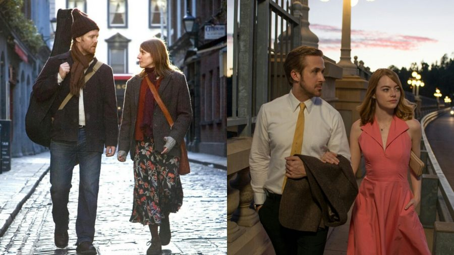 Left%3A+Glen+Hansard+and+Mark%C3%A9ta+Irglov%C3%A1+in+Once.+Right%3A+Ryan+Gosling+and+Emma+Stone+in+La+La+Land.