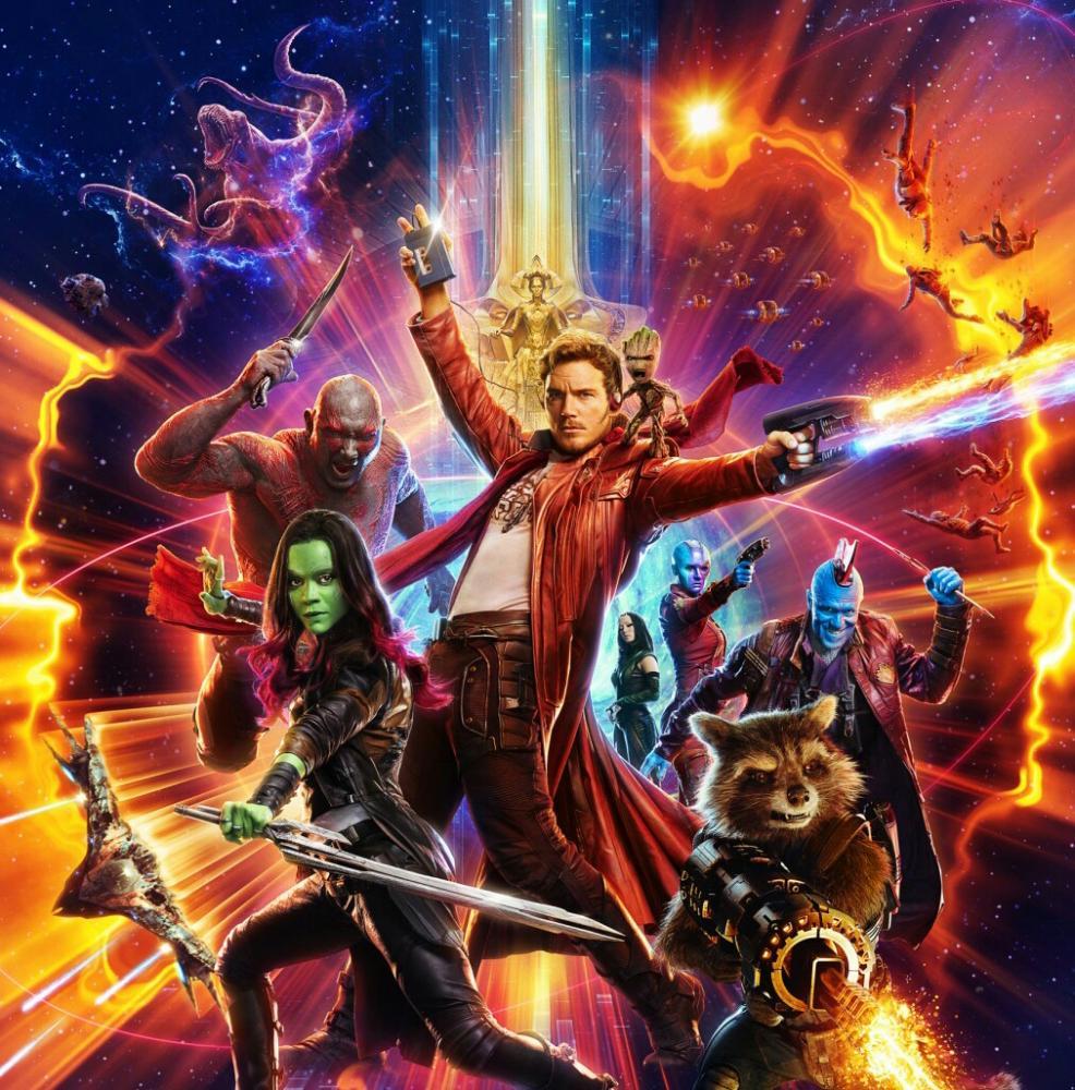 From left to right Drax (Dav Bautista), Gamora (Zoe Saldana), Star-Lord (Chris Pratt), Baby Groot (Vin Diesel), Mantis (Pom Klementieff), Nebula (Karen Gilliam), Rocket Raccoon (Bradley Cooper), Yondu (Micheal Rooker).