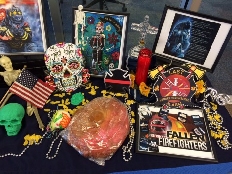 part of a Dia de los Muertos altar by the Gee Library