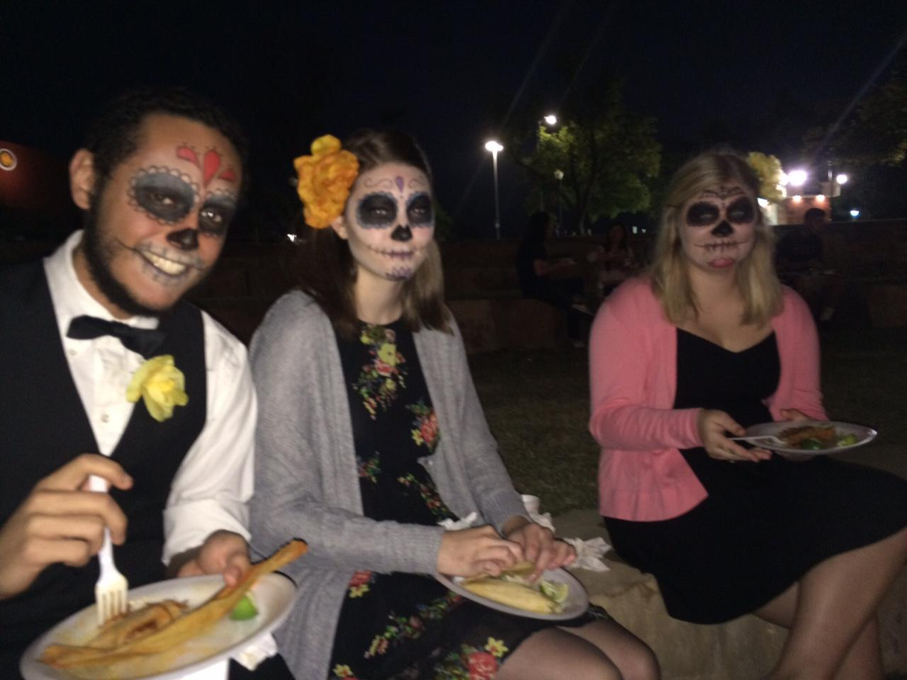 (from left to right) Chris Hernandez, Rebekah Davidson and Hannah Johnson take a taco break at the fiesta.