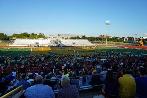 A shot showing the sparsely-populated east side of Memorial Stadium as the A&M-Commerce Lions face off against the Adams State University Grizzlies this past season.