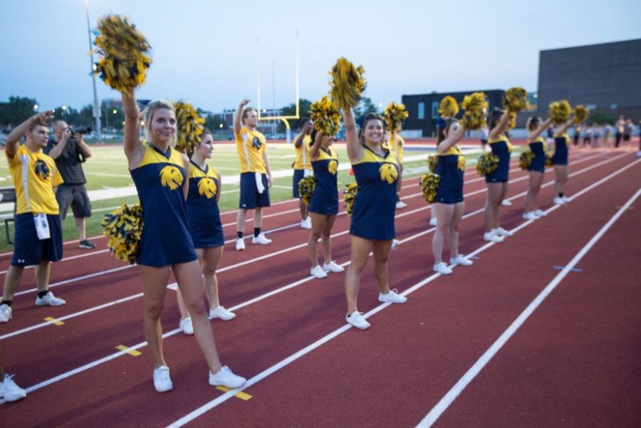 The Lion Cheerleaders perform in front of the student.