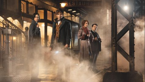 From left to right Tina (Katherine Waterson), Newt Scamander (Eddie Redmayne), Queenie (Alison Sudol), and Jacob (Dan Fogel).