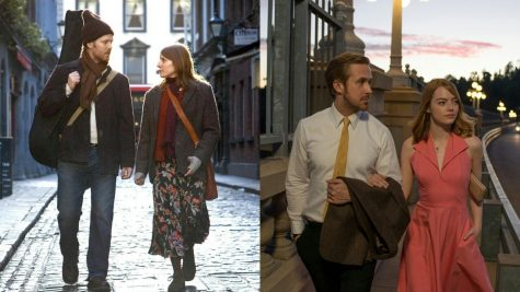 Left: Glen Hansard and Markéta Irglová in Once. Right: Ryan Gosling and Emma Stone in La La Land.