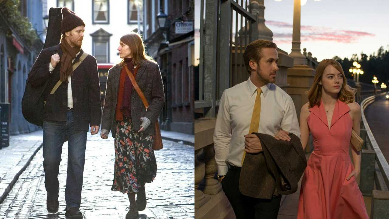 Left: Glen Hansard and Markéta Irglová in Once. Right: Ryan Gosling and Emma Stone in La La Land.