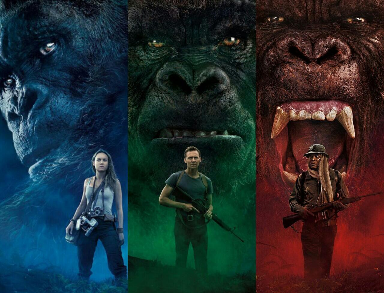 From Left to Right: Mason Weaver (Brie Larson), James Conrad (Tom Hiddleston) and Preston Packard (Samuel L. Jackson) in Kong: Skull Island.