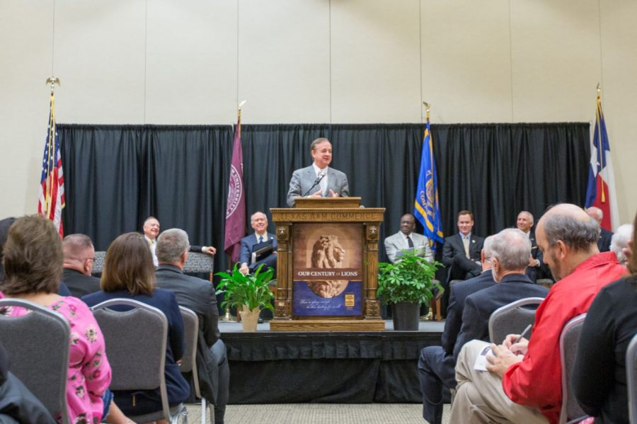 A&M System Chancellor John Sharp congratulates the university on its 100th anniversary of becoming a state institution.