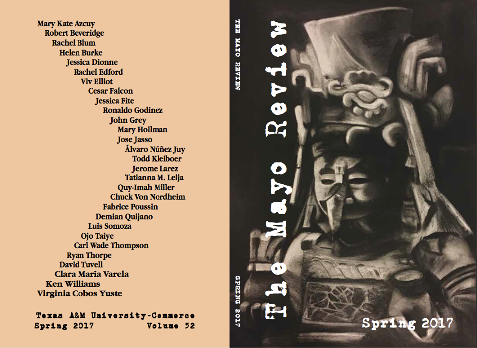To the right is the depiction of the Mayan deity Chac by Cesar Falcon, and to the left are all the names of those whom are published in the journal. Courtesy of the Mayo Review.