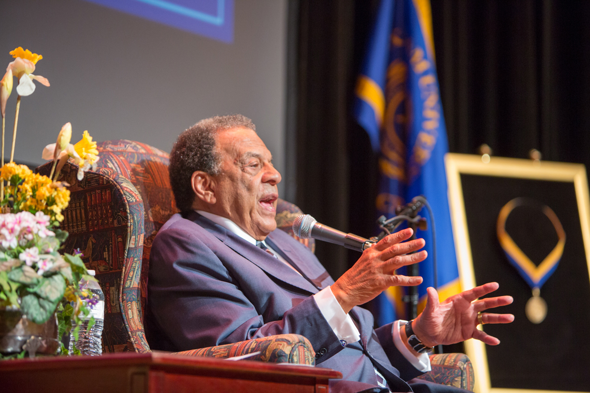 Former+U.S.+Ambassador+to+the+United+Nations+and+friend%2Fcolleague+of+Dr.+Martin+Luther+King+Jr.+Andrew+Young+speaks+to+the+audience+gathered+at+Ferguson+Auditorium.