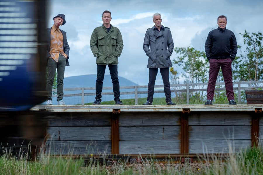 Spud (Ewen Brenner), Renton (Ewan McGregor), Sick Boy (Jonny Lee Miller), and Begbie (Robert Carlyle) in T2 Trainspotting, the sequel to the 1996 Trainspotting film/TriStar