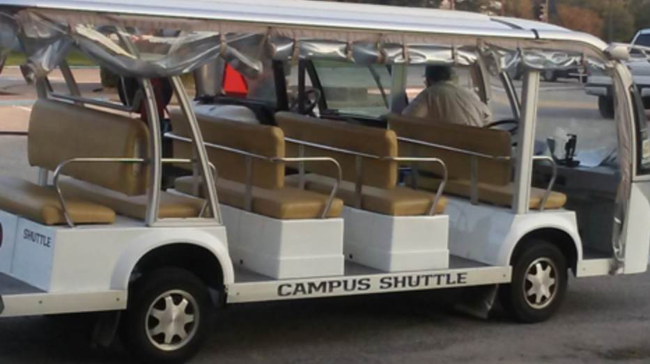 One of the campus shuttles that take students across the university.