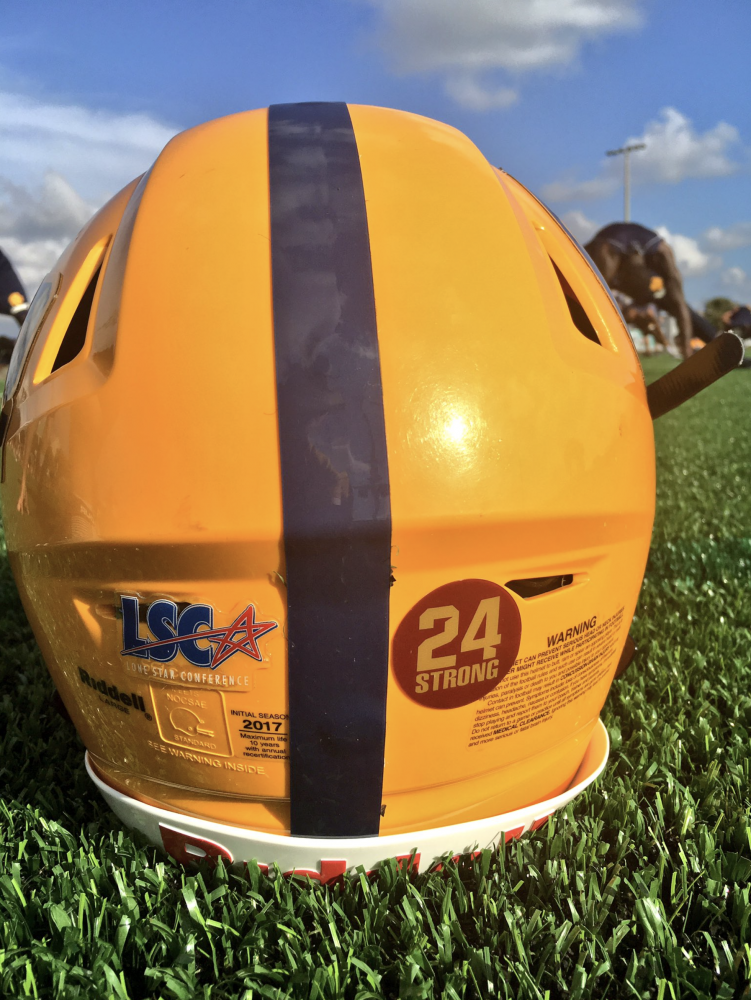 The+A%26M-C+football+helmet+with+a+sticker+of+%2224+Strong%22+representing+support+for+Midwestern+State+after+Grays%27s+death.