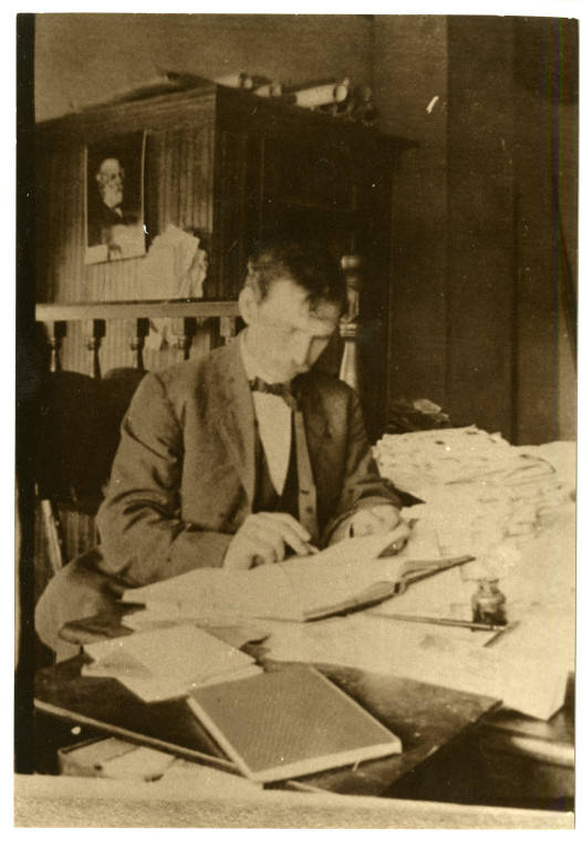 Professor Mayo at his desk, dated 1905