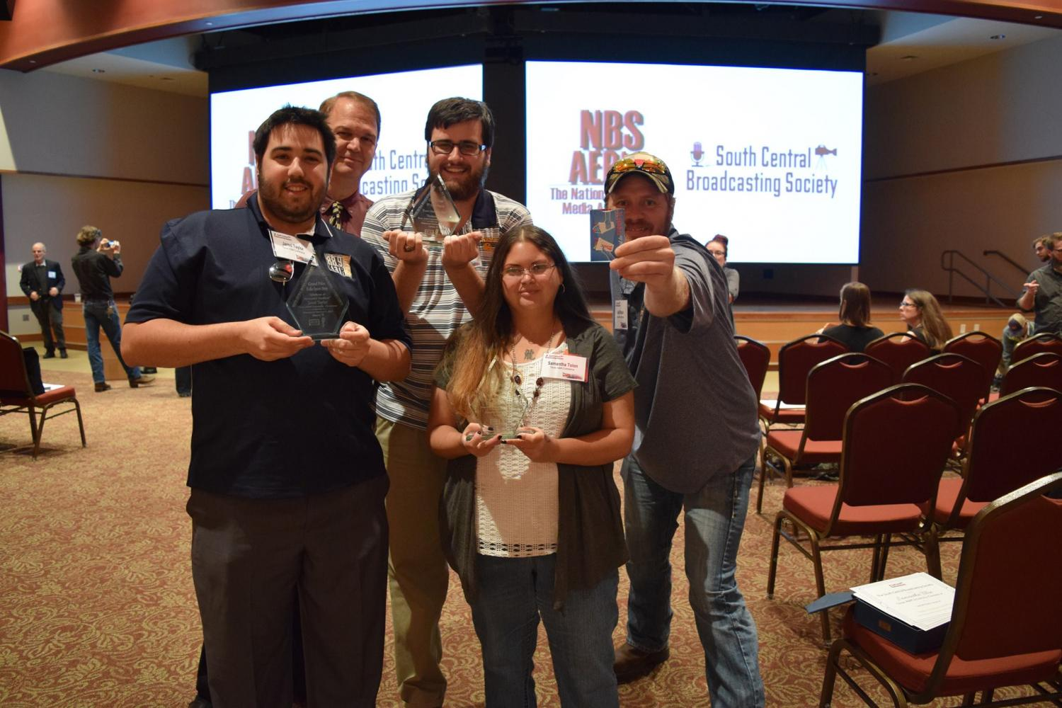 A&M-Commerce students show off their awards after the 2017 SCBS Conference.