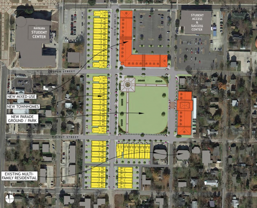 The current plan would have the village take up all or part of Parking Lots 18, 19, and 21. Illustration Courtesy | Toole Design Group via TAMUC Presentation