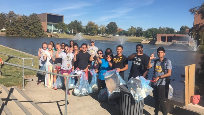 A photo from a Gee Lake cleanup event held by EcoLions, a related group that works with Eco Reps. Photo Courtesy | TAMUC