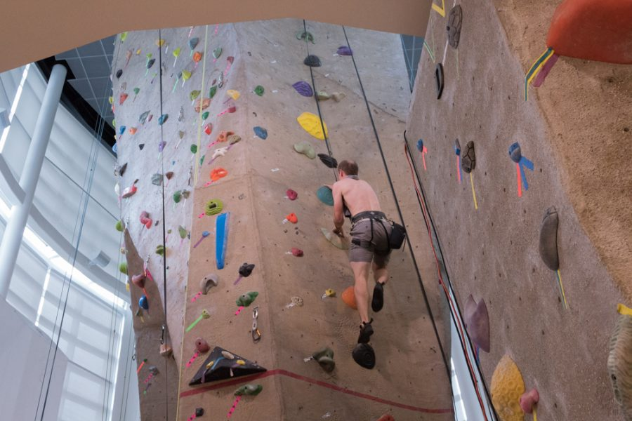 The Morris Recreation Center climbing wall stands 40 feet or roughly 12 meters tall.