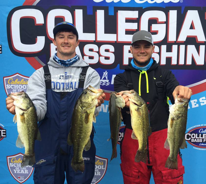 Michael Wallace (left) and William Fitzgerald (right) competed in the AFTCO Collegiate Bass Open Oct. 10-13. Photo Courtesy | @tamucfishing via Twitter