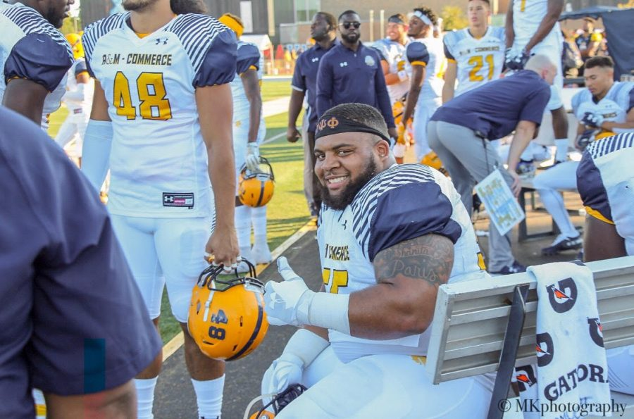 Pierre Leonard gives a thumbs up in a crushing 41-16 victory over West Texas A&M.