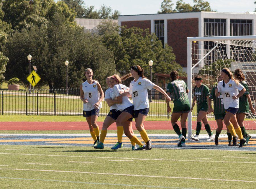 Lindsey McDonald hugs Jocelyn McDonough after a goal | Photo by Joseph Miller