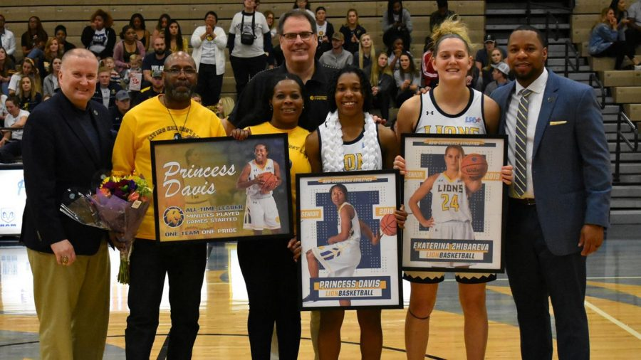 Princess Davis and Kate Zhibareva completed their final game at the Field House on Saturday | Photo Courtesy Lion Athletics