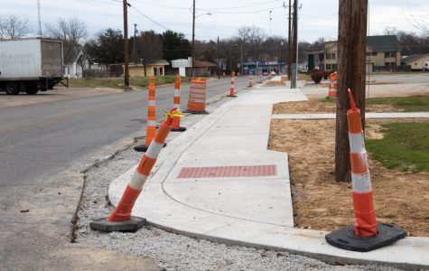 Sidewalk construction just off Live Oak Street.