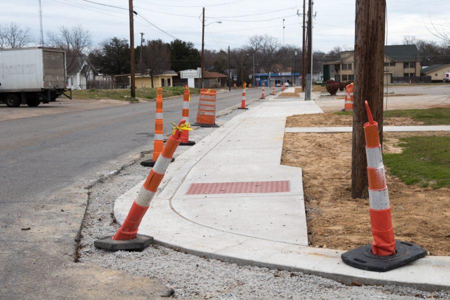 Sidewalk construction just off Live Oak Street.
