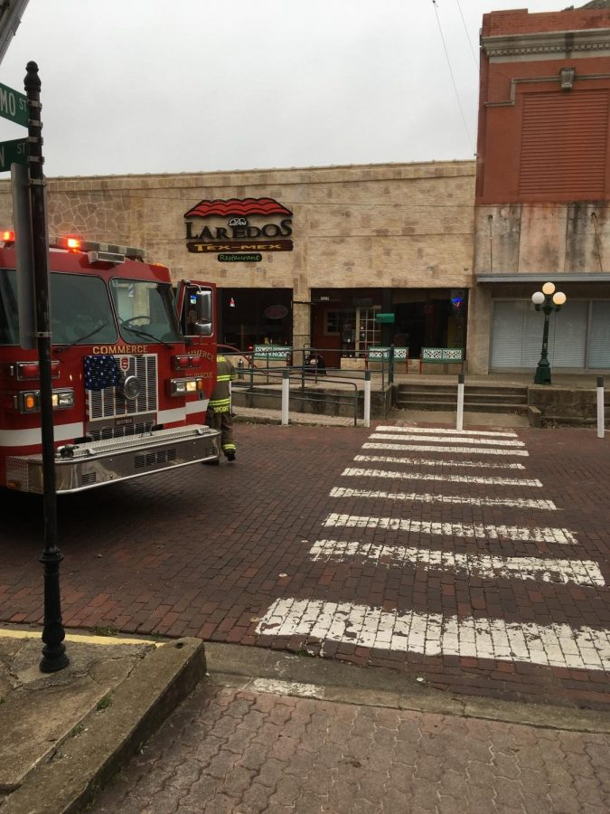 Firetruck parked outside of Dos Laredos early this morning|Photo Courtesy of John Parsons