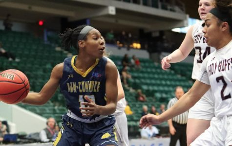 Princess Davis became Lion Basketball's all-time leader in minutes played during the quarterfinal against West Texas A&M. Photo Courtesy | Vladimir Cherry