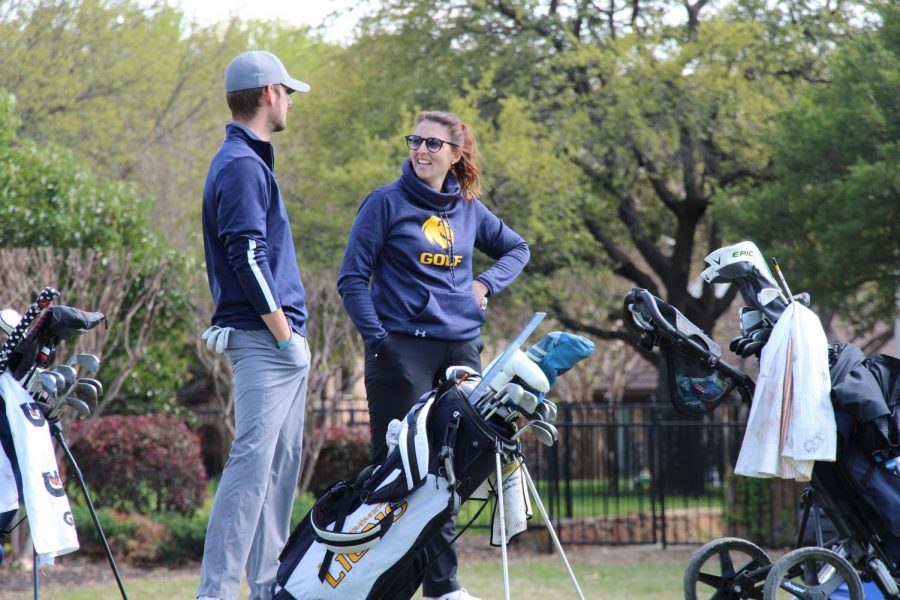 Assistant Coach Lauren Mason and Alex Welch share a laugh in round one of the DBU Tournament | Tyler McDonough