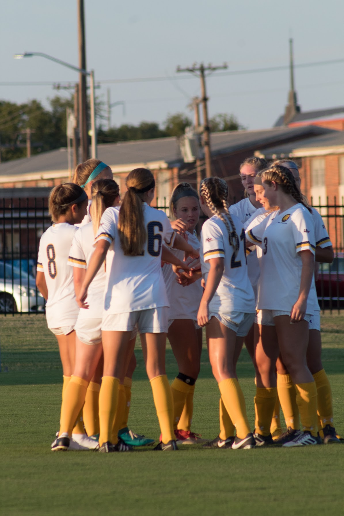 The Lions prepare to take the pitch against the Ouachita Baptist Tigers.