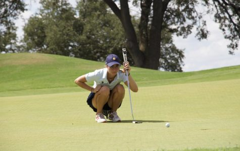 Sophie-Charlott Hempel looks on at a birdie attempt at the Tarleton State Invitational in Glen Rose, TX | Photo by Tyler McDonough