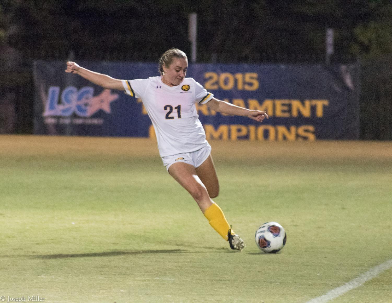Kara Blasingame takes a shot at the goal