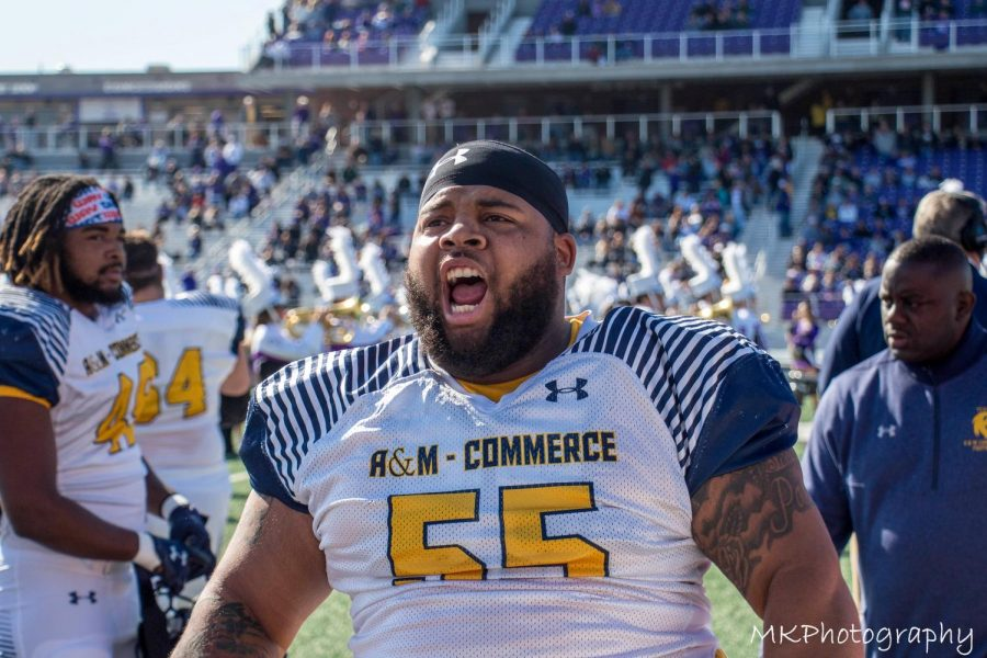 Defensive Tackle Pierre Leonard hypes the crowd up during the Lions victory over Tarleton State | Photo by Mikayla Maldonado