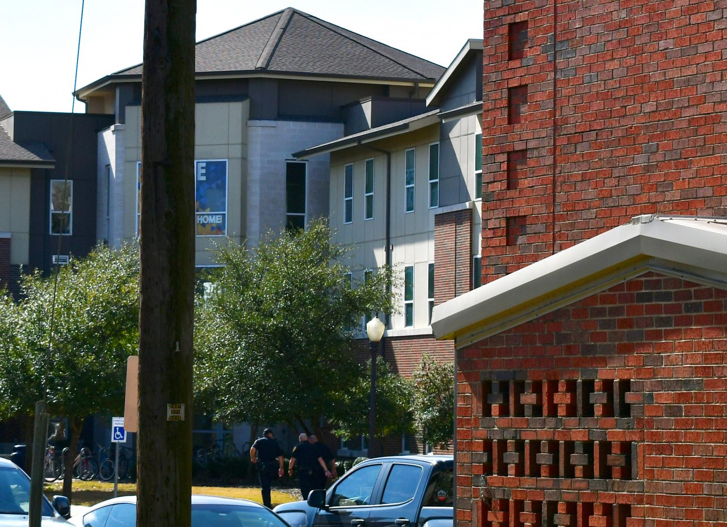University Police on the scene at Pride Rock Residence Hall on Monday afternoon.