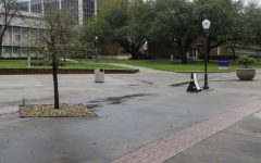 Campus crossroads stands deserted