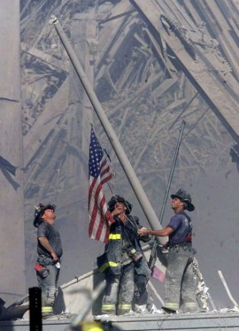 Flag raising at Ground Zero