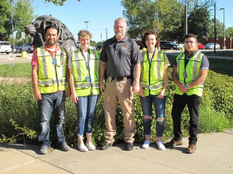 In the picture From left to right:      -Armando Rodriguez;       working on second bachelors in Equine Science.  -Savannah Shaw;                 Freshman            Elementary Education  -Sgt. Ray Dittrich ;               Community Engagement Sergeant  -Elizabeth Gray;                   Junior                    Child & Family Studies  -Megal Nathan;                   Freshmen           Chemistry