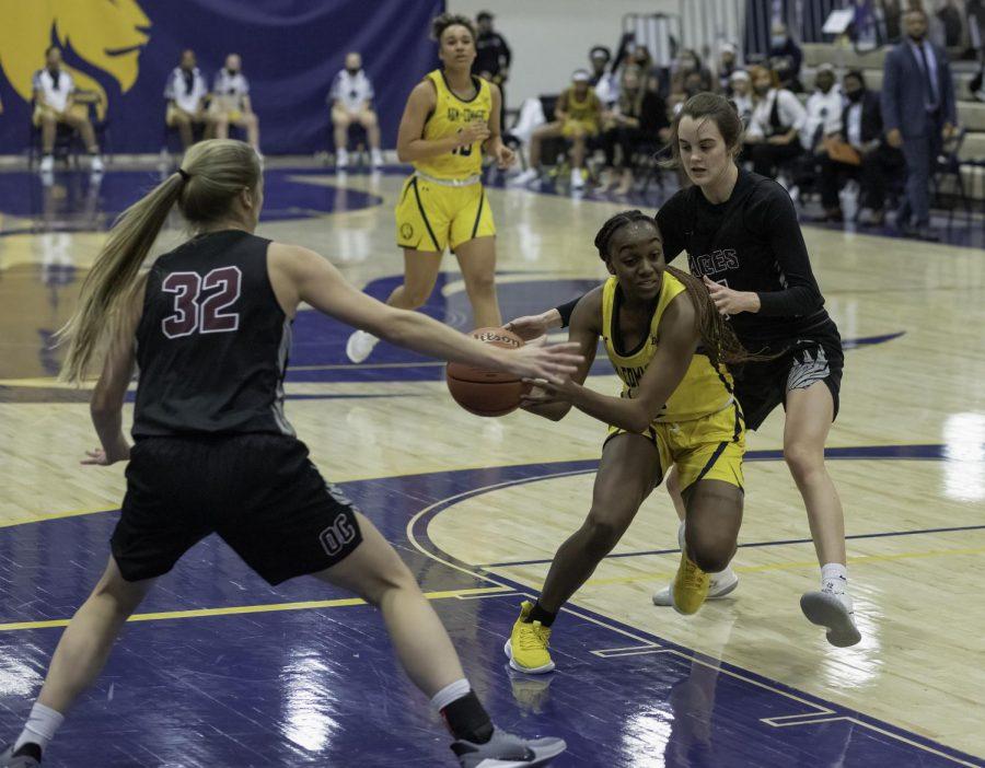 Dyani Robinson drives for the basket